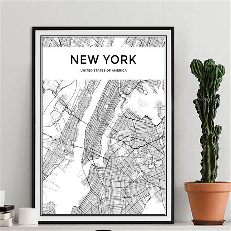World City Map Black and White Milan London New York Poster Nordic Style Living Room Wall Art PictureCanvas Painting Home Decor