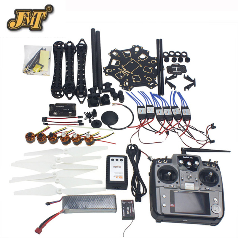 JMT DIY RC Drone Full Set 6-axis Aircraft Kit with HMF S550 Frame 6M GPS APM 2.8 Flight Control AT10 Remote control drone upgraded apm2 6 mini apm pro flight controller neo 7n 7n gps power module