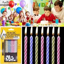 10 шт. свечи для торта, волшебные, снимающиеся, дующие, забавные, хитрые, на день рождения, Вечные принадлежности для праздников и вечеринок, шутка, декор тортов на день рождения