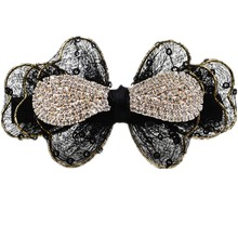 3.6 inches Bling Bling rhinestones paillettes yarn bowknot Barrettes hair clips claw for women and girls