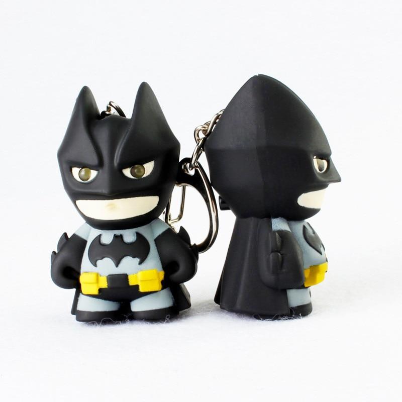 Fantasty Batman key ring toy eletronice light sound Action Figure Keychain toys Kid Mobile phone Key