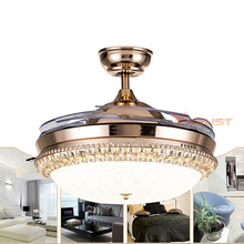 36 42 Inch Invisible Crystal Ceiling Fan With Lights Bedroom Living Room Crystal Ceiling Fans Lamp with Remote Control cheap VITRUST CN(Origin) 15kg iron ROHS Ceiling Fan Lamp 3 years STAINLESS STEEL LED Bulbs Modern Wedge