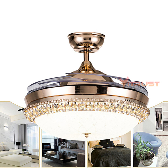 36/42 Inch Invisible Crystal Ceiling Fan With Lights Bedroom Living Room Crystal Ceiling Fans Lamp with Remote Control