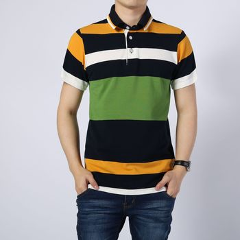 New Arrival Men's Fashion Summer Short Sleeve Turn Down Collar Patchwork Striped Polo Shirts Tops Male Smart Casual Tees Social