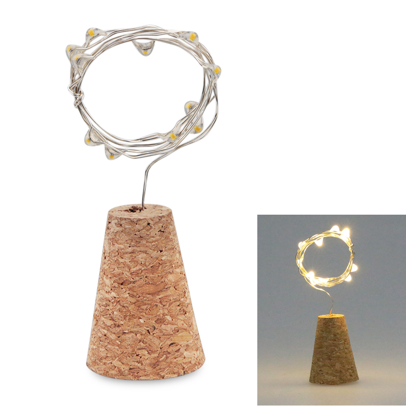1.4M 15LED Garland Silver Wire Corker String Fairy Lights Wooden Bottle New Year Christmas Valentines Wedding Decoration