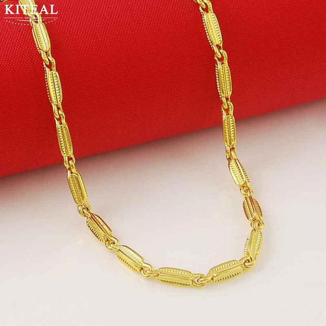 KITEAL Hot Selling 24K GP gold Color  women necklaces & pendants thin lock chain  maxi colar Top Quality Jewelry