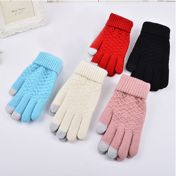 Hot Fashion Winter Warm Vogue Solid Knitted Full Finger Gloves Mittens For Smart Phone Female Gloves