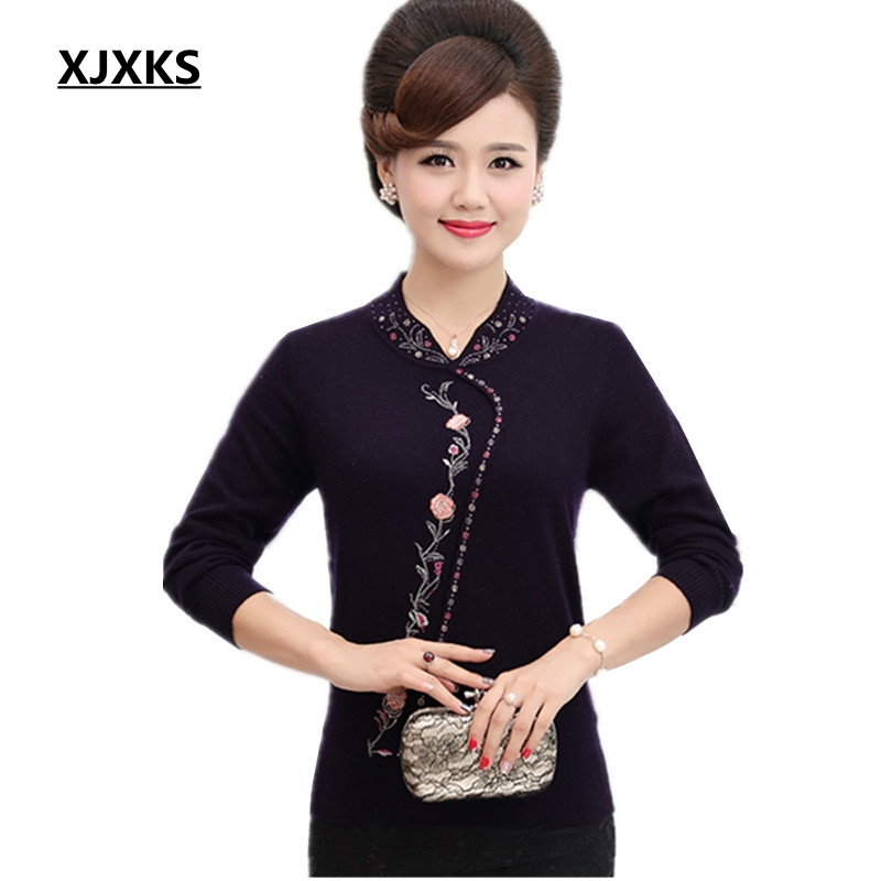 XJXKS 2019 Female Knitted Embroidery Beading Warm Sweaters Large Size S 5XL Full Sleeve Jumper Wool