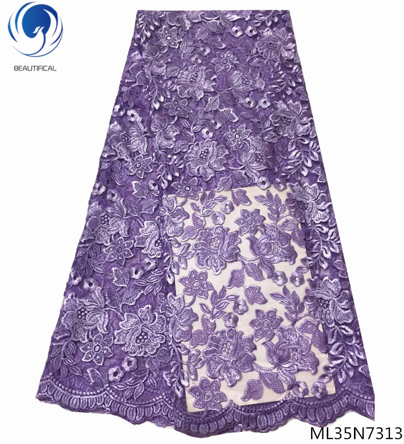 BEAUTIFICAL purple nigerian lace fabric french net lace mesh lace embroidered fabric best quality 5 yards