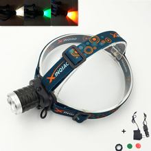 Rechargeable Headlight Head Torch 2000LM XPE LED Headlamp Bulit in Battery with color lens + AC/Car Charger for Camping Cycling