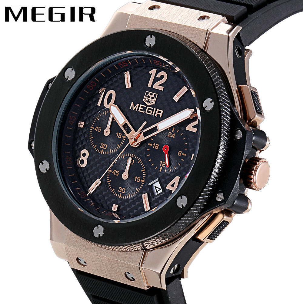 MEGIR Top Brand Luxury Quartz Watch Men Chronograph Clock Silicone Strap Date Sport Military Wrist Watches Relogio Masculino megir mens chronograph 6 hands 24 hours function sport wrist watches luxury silicone military quartz watch man relogio masculino