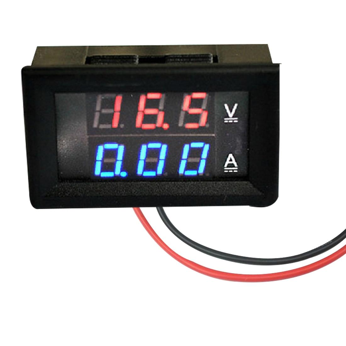 100V 10A DC Voltmeter Ammeter Blue + Red LED Amp Dual Digital Ammeter Voltmeter Gauge  Professional