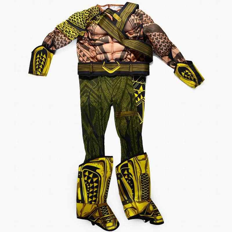 Aquaman trajes crianças muscle halloween trajes para crianças meninos trajes de super-heróis arthur curry cosplay festa vestir-se macacões