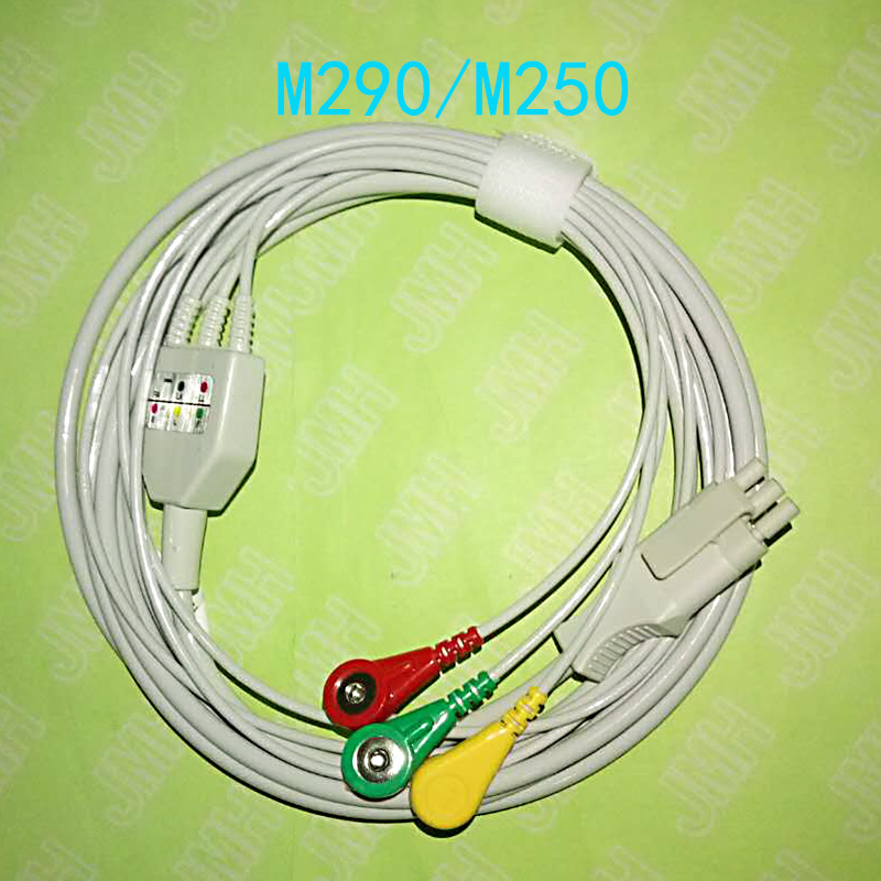 Compatible with 3pin Primedic M290 and M250 ECG Machine the one-piece 3 lead cable and snap leadwir,AHA or IEC.Compatible with 3pin Primedic M290 and M250 ECG Machine the one-piece 3 lead cable and snap leadwir,AHA or IEC.