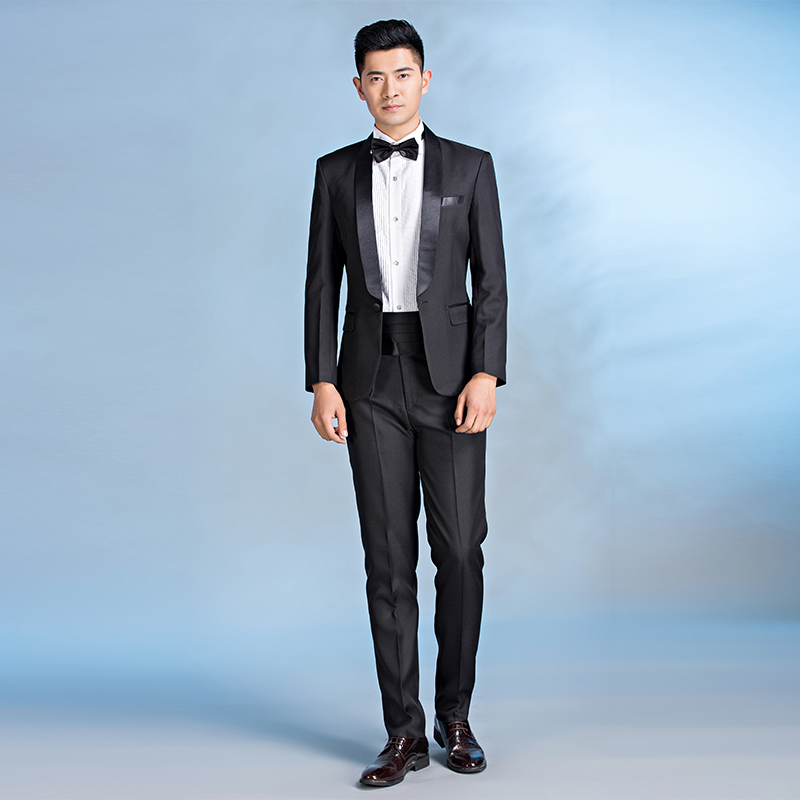Free shipping Male formal dress mens groom wedding suit solid color costume white black terno masculino slim fit ternos big size in Suits from Men 39 s Clothing
