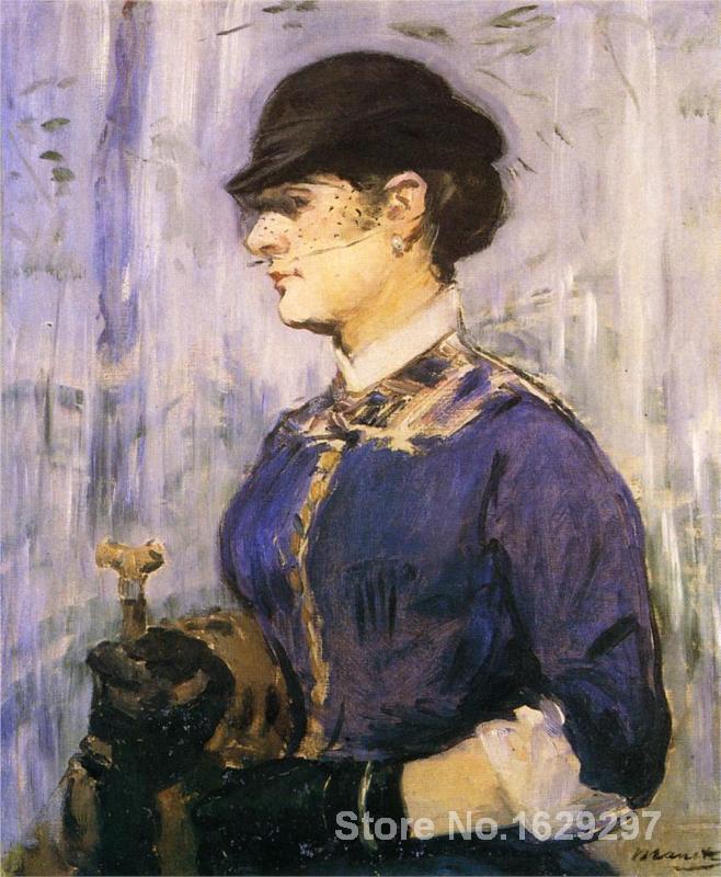 Peinture d'art d'edouard Manet jeune femme dans un chapeau rond de haute qualité peint à la main