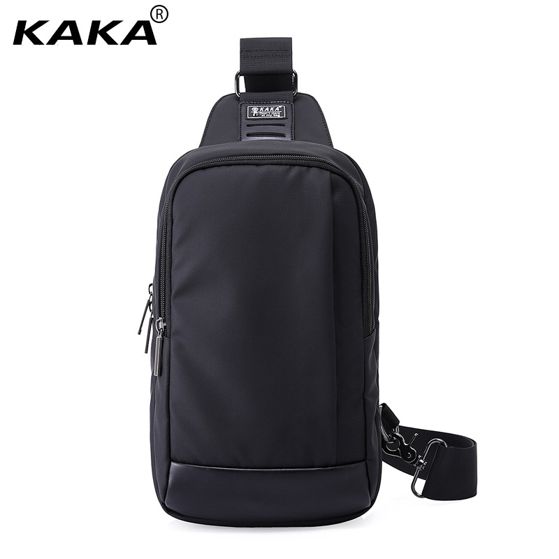 KAKA Designer Fashion 100% Waterproof Men Messenger Bags Women Chest Pack Unisex Cross Body Bag Functional Bag for Ipad Black
