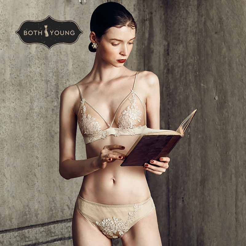 BOTHYOUNG Sexy Silk Underwear For Women Lace Transparent Wire Free French Bra Set Lingerie Soft Comfortable Bralette Set