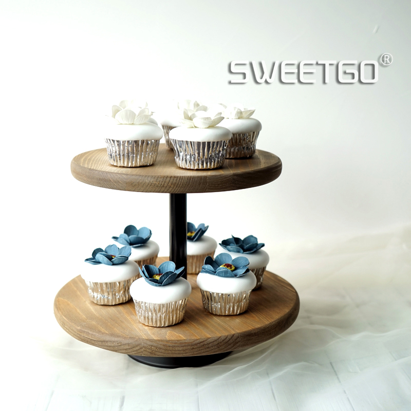 SWEETGO 2 tiers wood cake stand cupcake plate wedding party brown light coffee cake decorating tools