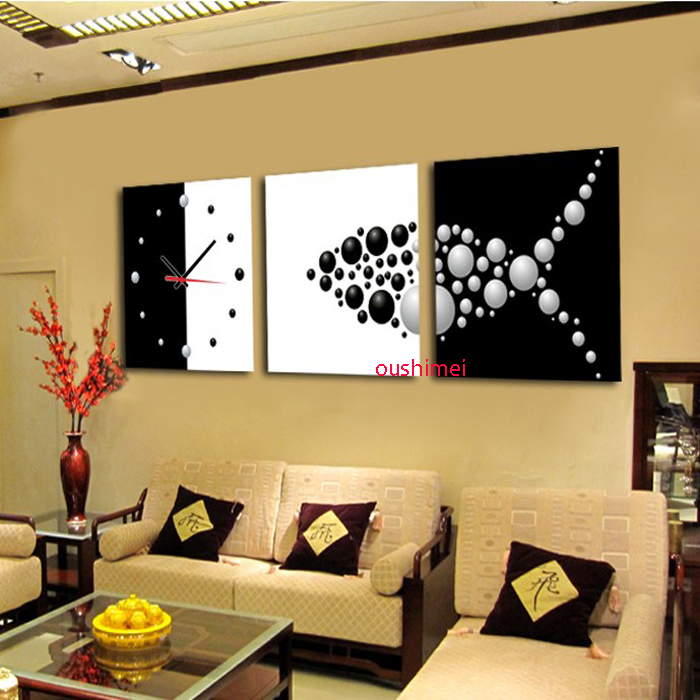Handmade 3 Pieces Free Shipping Black&White Wall Painting Still Life ...
