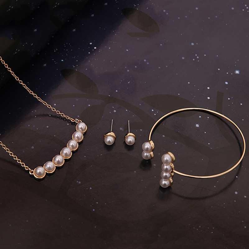 2018 Цепочки и ожерелья браслет серьги стержня уха элегантные свадебные Для женщин комплект ювелирных изделий с искусственным жемчугом Колье Свадебные украшения комплекты