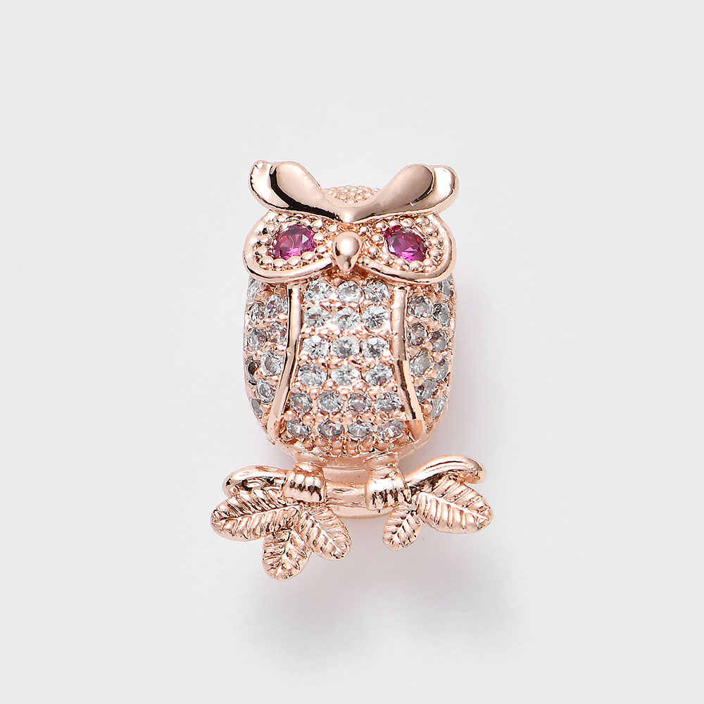 9.5*13*20mm SLFA041 Copper zircon owl eyelet beads bracelet connectors diy necklace charm 1pcs/lot SLFA041