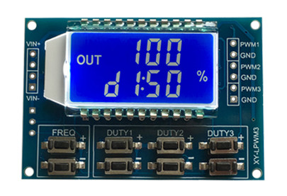 XY-LPWM3 DC3.<font><b>3</b></font>-30V <font><b>3</b></font> Channel Frequency 1Hz-150KHz Duty Cycle <font><b>0</b></font> -100 Adjustable Meter PWM Signal Generator with LCD Display Meter image