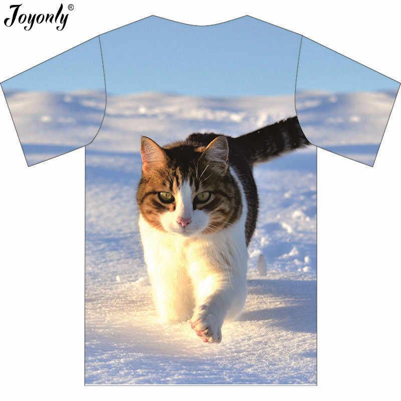 Joyonly 2019 夏子供 3D Tシャツボーイズガールズ高品質 tシャツ雪きらめくクール猫おかしい tシャツトップスシャツ