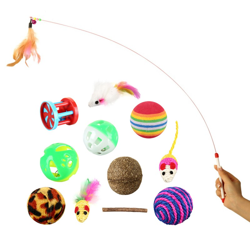 panDaDa Pet Cat Toy Set Balls Ring Play With Bells Toys Gift for Cats Dogs Feather Mini Ball 12Pcs/Pack