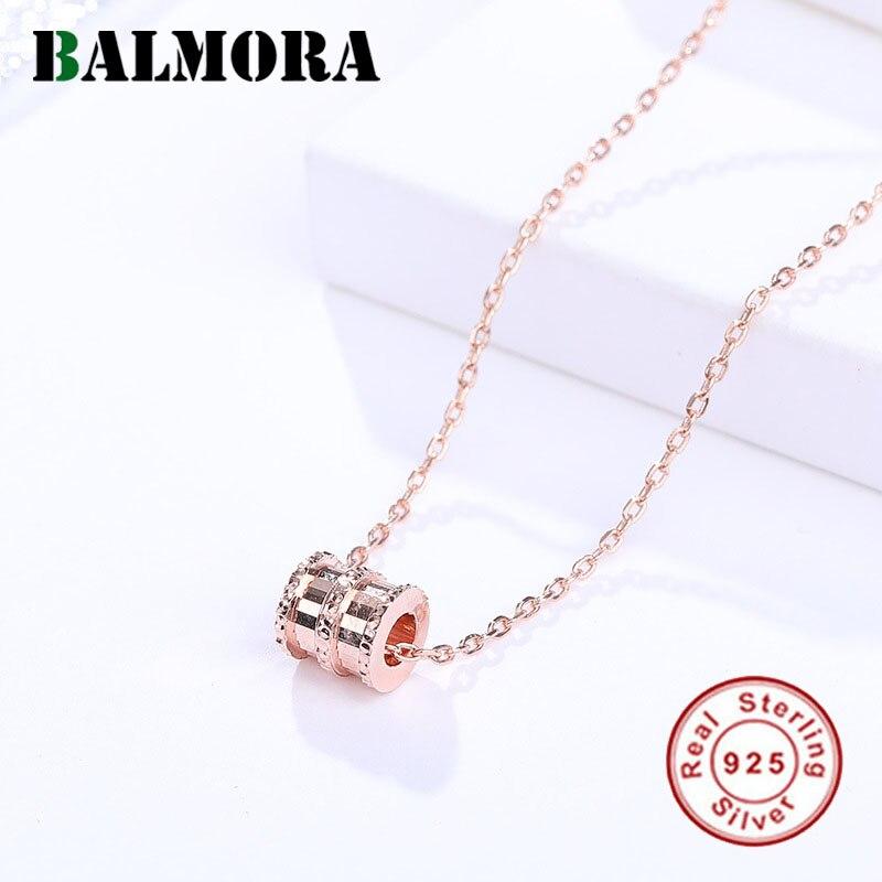 0a7ca6e631d8 BALMORA rosa de plata esterlina 925 rojo cilíndrico colgante collares para  mujeres amante joyería de moda 40 + 5 cm de cadena regalos JDN384 ...