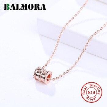8be2fc505df3 BALMORA rosa de plata esterlina 925 rojo cilíndrico colgante collares para  mujeres amante joyería de moda 40 + 5 cm de cadena regalos JDN384
