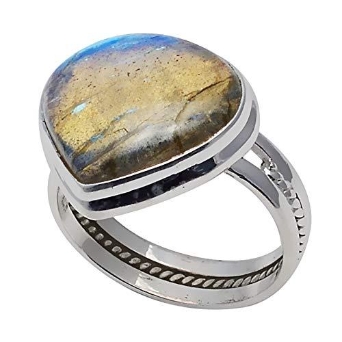 Настоящее лабрадоритовое кольцо из стерлингового серебра 925 пробы, размер США: 8,5, 2SR0212 Кольца    АлиЭкспресс