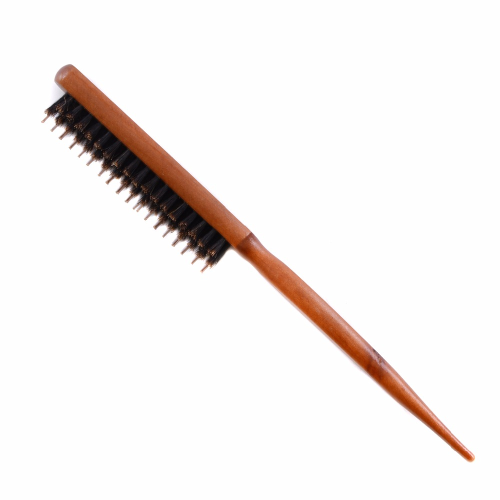 Wood Handle Hair Brush Natural Boar Fluffy Bristle Anti Loss Comb Hairdressing Barber Tool Teasing Bristle Salon Hairbrushh