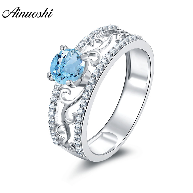 AINUOSHI Natural Blue Topaz Ring Engagement Wedding Ring Pure 925 Silver Gems Ring Jewelry 0.63ct Round Cut Flower-Hollow RingAINUOSHI Natural Blue Topaz Ring Engagement Wedding Ring Pure 925 Silver Gems Ring Jewelry 0.63ct Round Cut Flower-Hollow Ring