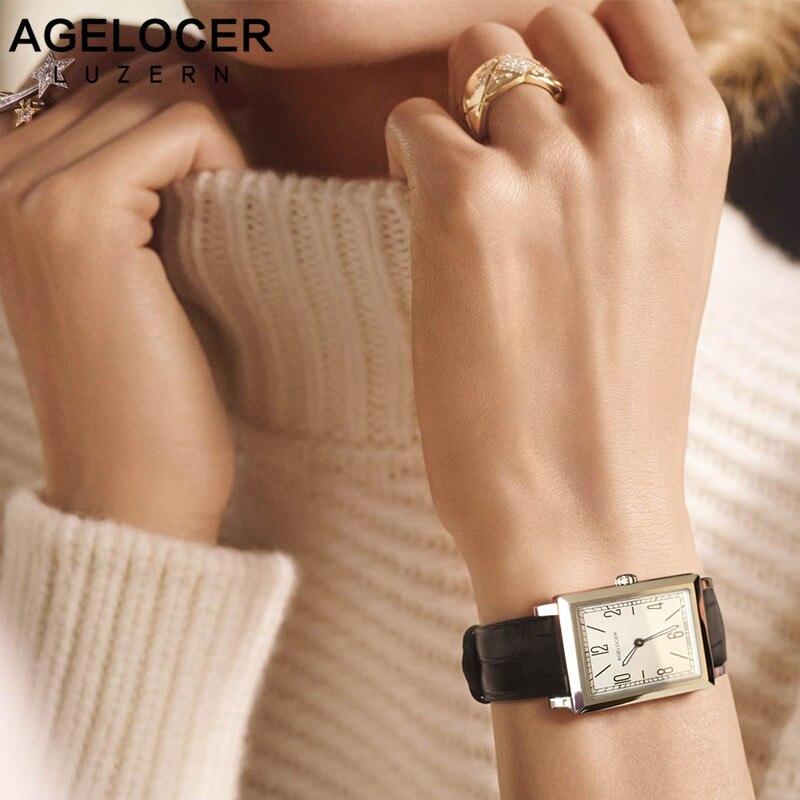 Agelocer Top Marque De Luxe Montres Or Lumineux Quartz-montre En Acier Inoxydable Bande de Cuir Montres de Femmes Montre Relogio Feminino