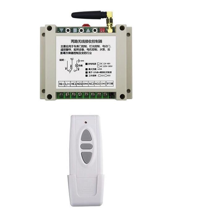 AC 220 v 250 v 380 v 2CH RF Sans Fil Télécommande Récepteur + Émetteur volets tubulaire moteur de porte de garage écran de projection