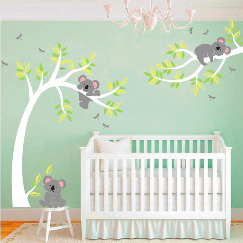 Koala And Branch Wall Sticker Koala Tree Wall Decal With Dragonflies Koala Bear Wall Decal for