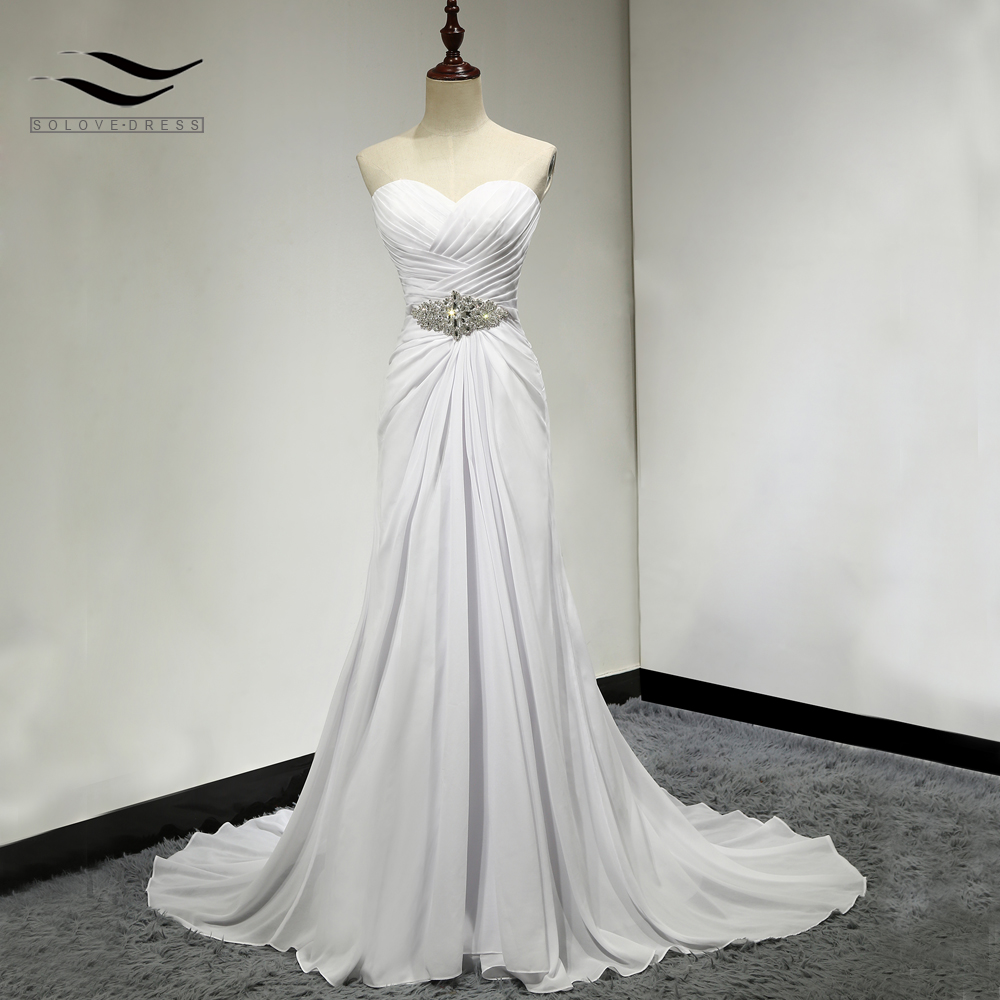Solovedress A Line Soft Chiffon Beach Wedding Dress Vintage Cheap 2019 White Bridal Gown Casamento Vestidos