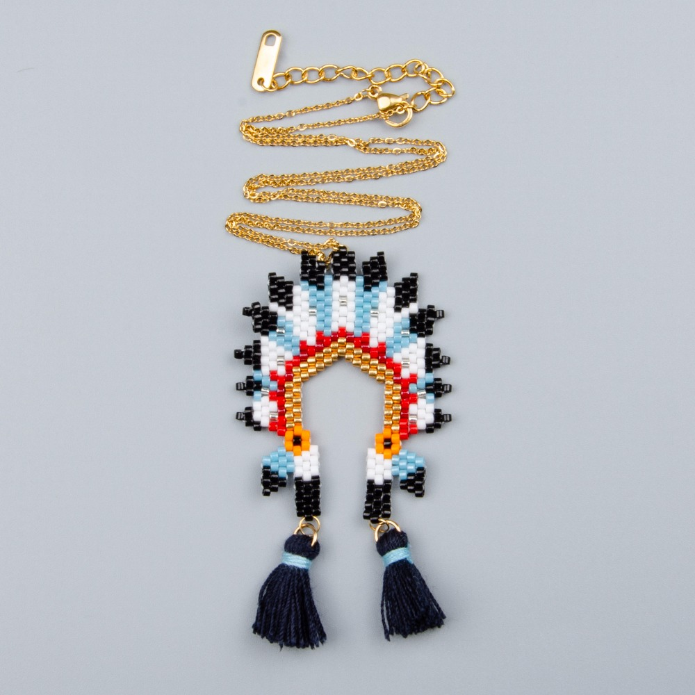 Shinus Wholesale 10pcs/lot MIYUKI Necklace Handmade Woven Indian Hat Summer Jewelry Beaded Adjustable Delica Seed Beads Chain