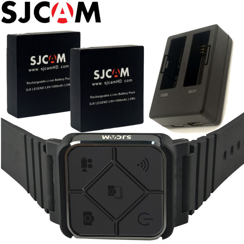 SJCAM SJ6 Légende 2 PCS 3.8 V 1000 mAh Rechargeable Batterie + Double Chargeur + Poignet À Distance Contrôleur Pour SJCAM SJ6 Légende D'action Caméra