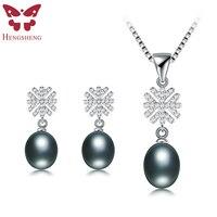 HENGSHENG 100 Real Natural Black Pearl Jewelry Set For Women Snowflake Shape Stud Earrings Pendant Wedding