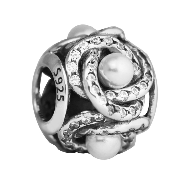 1ba363e20 Fits for Pandora Charms Bracelets Luminous Love Knot Beads with White Pear  100% 925 Sterling Silver Jewelry Free Shipping