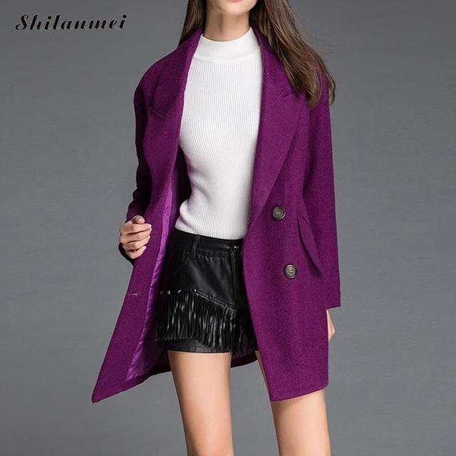 2018 Autumn Winter Fashion Women Coat Turn Down Collar Long Sleeve Outerwear Solid Warm Overcoat Casaco Feminino Female Clothing 5