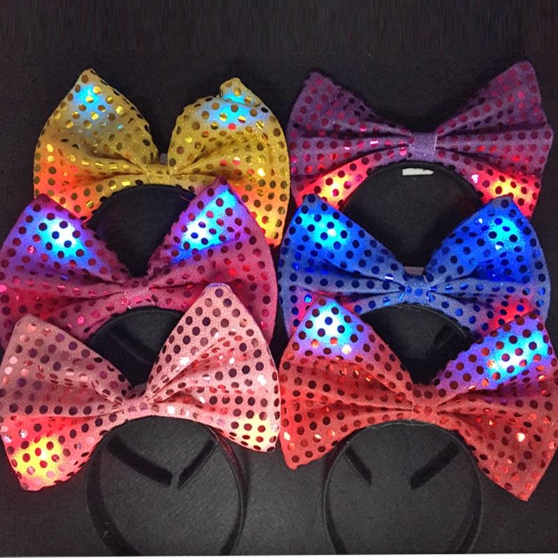 Led favores de la boda parpadeante Hairclip Night Shine Bowknot - Para fiestas y celebraciones - foto 3