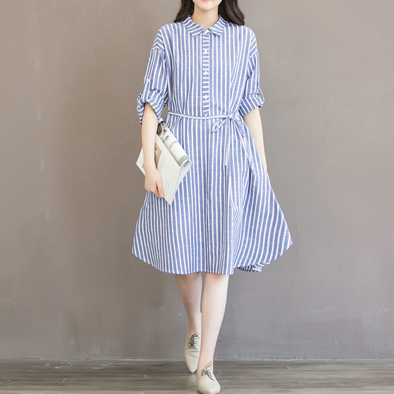 Spring Summer Casual Mid Dress Women S Turn Down Collar Striped Cotton And Linen Full Sleeved