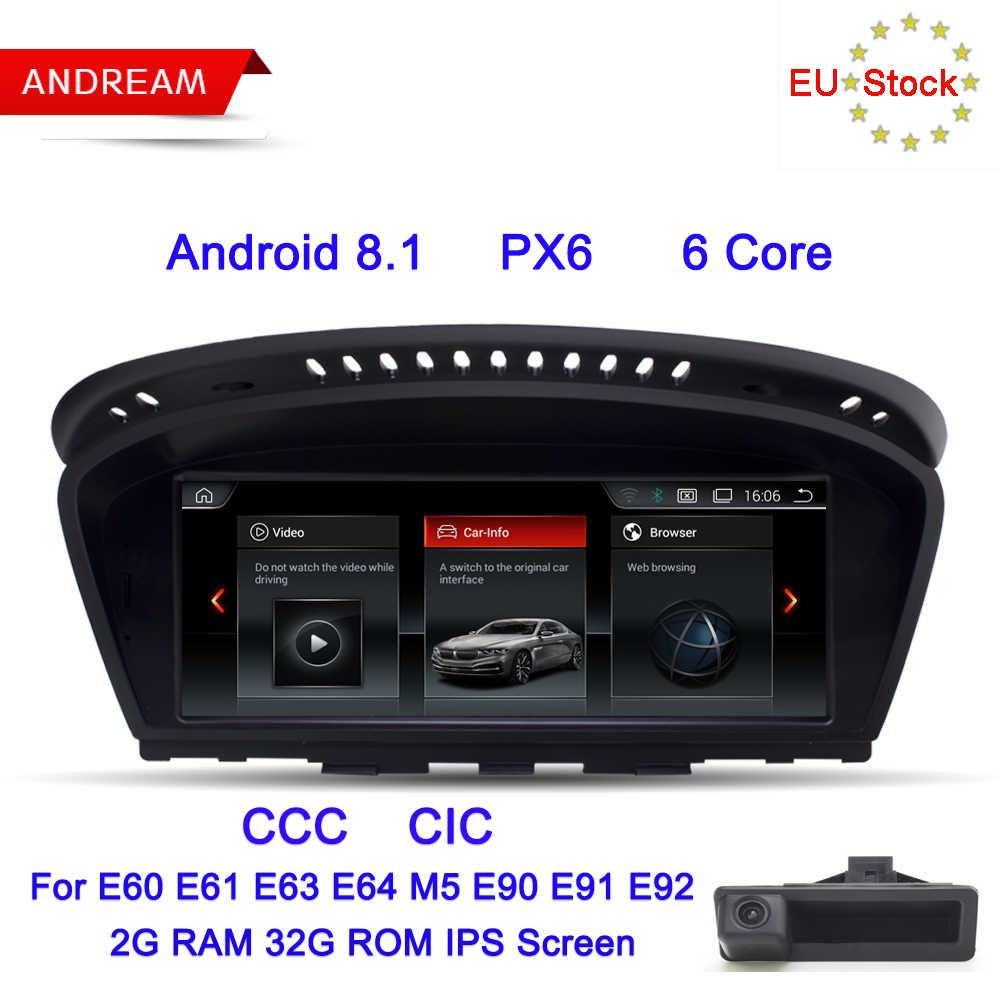 "Android 8,1 PX6 6 core gps навигация мультимедийный плеер для BMW серии 5 E60 E61 E62 E63 Bluetooth 8,8 ""экран"