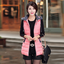 Latest Autumn And Winter Cotton Feather Waistcoat Women Fashion Long Down Jacket Slim Big Yards Vest Women E004
