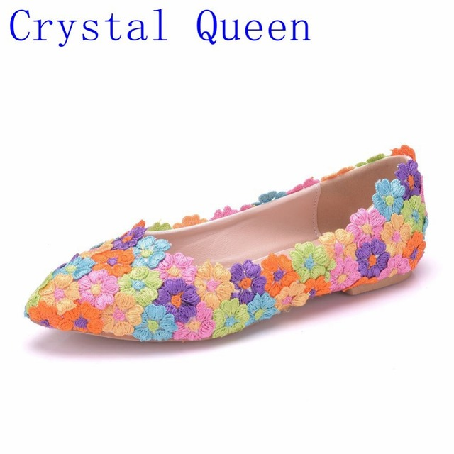 Crystal Queen Colorful Flower Lace Women Shoes Flats Pointed Toe Wedding  Shoes Spring Casual Flats Shoes e34fd96a3149