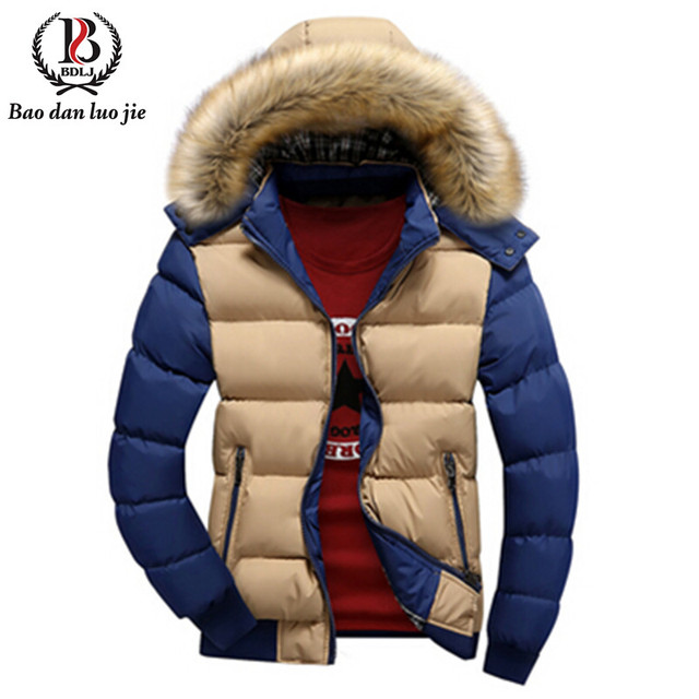 Мода зимняя куртка бренд мужской теплый утиный парки свободного покроя мода меховой воротник толщиной с капюшоном съемная крышка пальто верхняя одежда