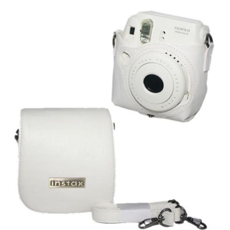 Prix pour Pour fuji fujifilm instax mini 8 instantanée photo caméra blanc en cuir épaule bandoulière sac housse etui protecteur